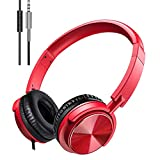 Wired Headphones with Microphone, Foldable On Ear Headset with Deep Bass, Adjustable Headband and Noise Isolation for Smartphone Computer Laptop Chromebook Zoom Discord (Red)