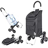 dbest products Stair Climber Trolley Dolly, Black Shopping Grocery Foldable Cart Condo Apartment