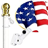 American Flag Kit Includes: 6ft Spinning Flagpole, 3x5 Embroidered US Flag, Adjustable Wall Mount Flag Holder, Commercial Residential Indoor Outdoor Use | US Flag Kit, White