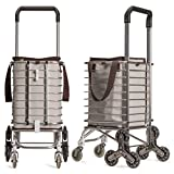 Nicely Neat Sturdy Birdy Stair Climbing Farmers Market Cart with Insulated Bag (Beige with Brown Trim)