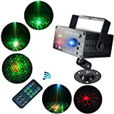 LED Stage Laser Lights,SAHAUHY 3 Sources Lens 48 Patterns Sound Activated Auto with Remote Control (Laser Lights)