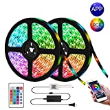 LED Strip Lights, Kwanan Color Changing LED Light Strip 32.8ft(10m) Kit SMD 5050 Waterproof Rope Lights with Bluetooth Controller Sync to Music Apply for TV, Home, Bedroom, Party (RGB)