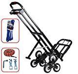 Mecete Enhanced Stair Climbing Cart Portable Climbing Cart 460 lb Largest Capacity All Terrain Stair Climbing Hand Truck Heavy Duty with 6 Wheels (Black) 2 Climbing Rope for Heavy Cargo on Stairs