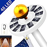 totobay [48 LED Solar Flag Pole Light, Weatherproof Flagpole Downlight 800Lux- Flag Pole Lighting for 15 to 25 Ft Flag Pole Topper, 3 Modes, Auto On/Off Night Light Eco-Friendly and Energy-Saving