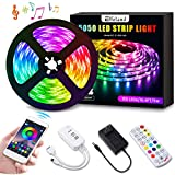 LED Strip Lights, Elfeland 16.4ft LED Light Strip SMD5050 RGB Tape Lights Color Changing Rope Lights Work with App Sync with Music Flexible Strip Lights Kit for TV, Bedroom,Party, Home Decoration