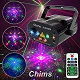 Chims DJ Laser Light Show Projector Red Green Blue Laser with LED 96 Patterns RGRB Remote Control Music Sound Activated Lighting System Projector for Holiday Gift Family Party DJ Disco Show Karaoke