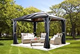 Sojag 500-5157864 Meridien Hardtop Gazebo Outdoor Sun Shelter, 10' by 14', Charcoal